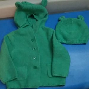 Baby gap mint green sweater and hat 12-18 months